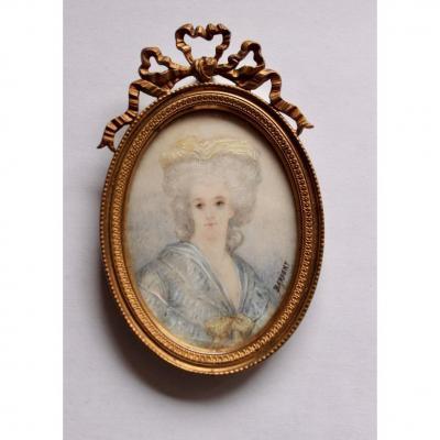 Miniature On Ivory Portrait Of Madame Necker End XIX