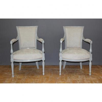 Pair Of Directoire Period Armchairs In Painted Wood XIX