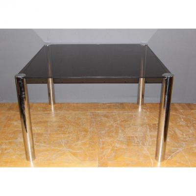 Chrome And Glass Dining Table 1970