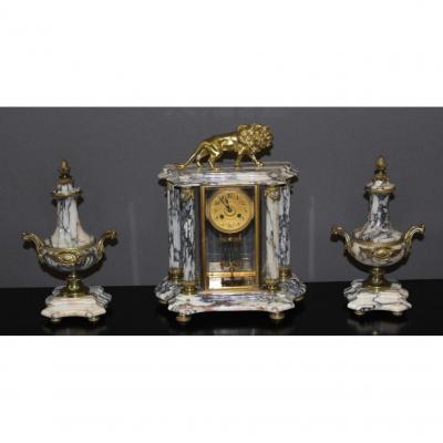 Pendule De Style Louis XVI Au Lion Fin XIX