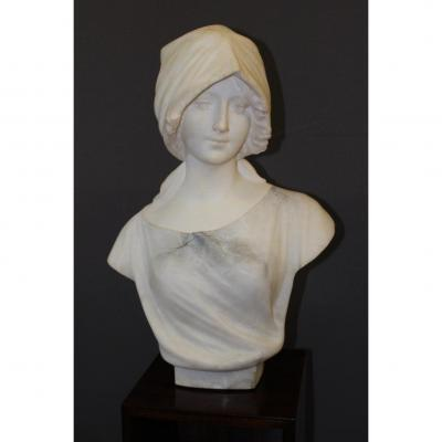 Bust Of Woman In Alabaster In Two Colors 1900 By Pugi