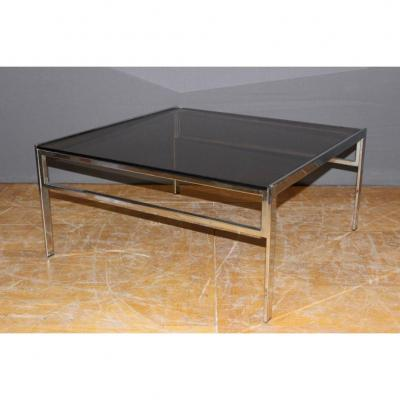 Coffee Table In Chrome And Smoked Glass Around 1970