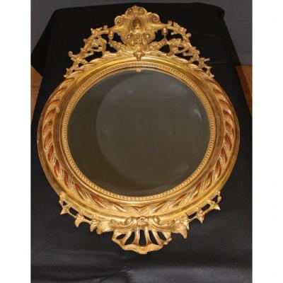Miroir Ovale En Stuc Doré Vers 1880