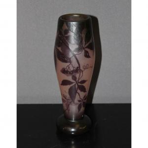 Vase Art Nouveau Signé Gauthier à Décor De Vigne
