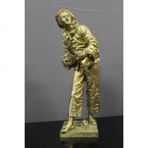 Bronze Représentant Pierrot Au Clair De Lune Par Eutrope Bouret XIX