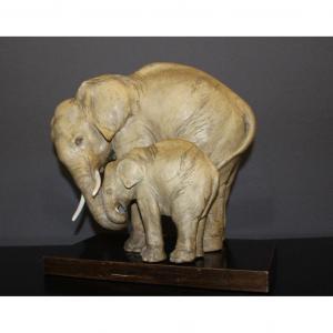 Groupe d'éléphants En Terre Cuite Par Guido Cacciapuotti Vers 1930