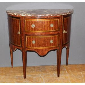 Commode Demi Lune En Marqueterie De Style Louis XVI Fin XIX