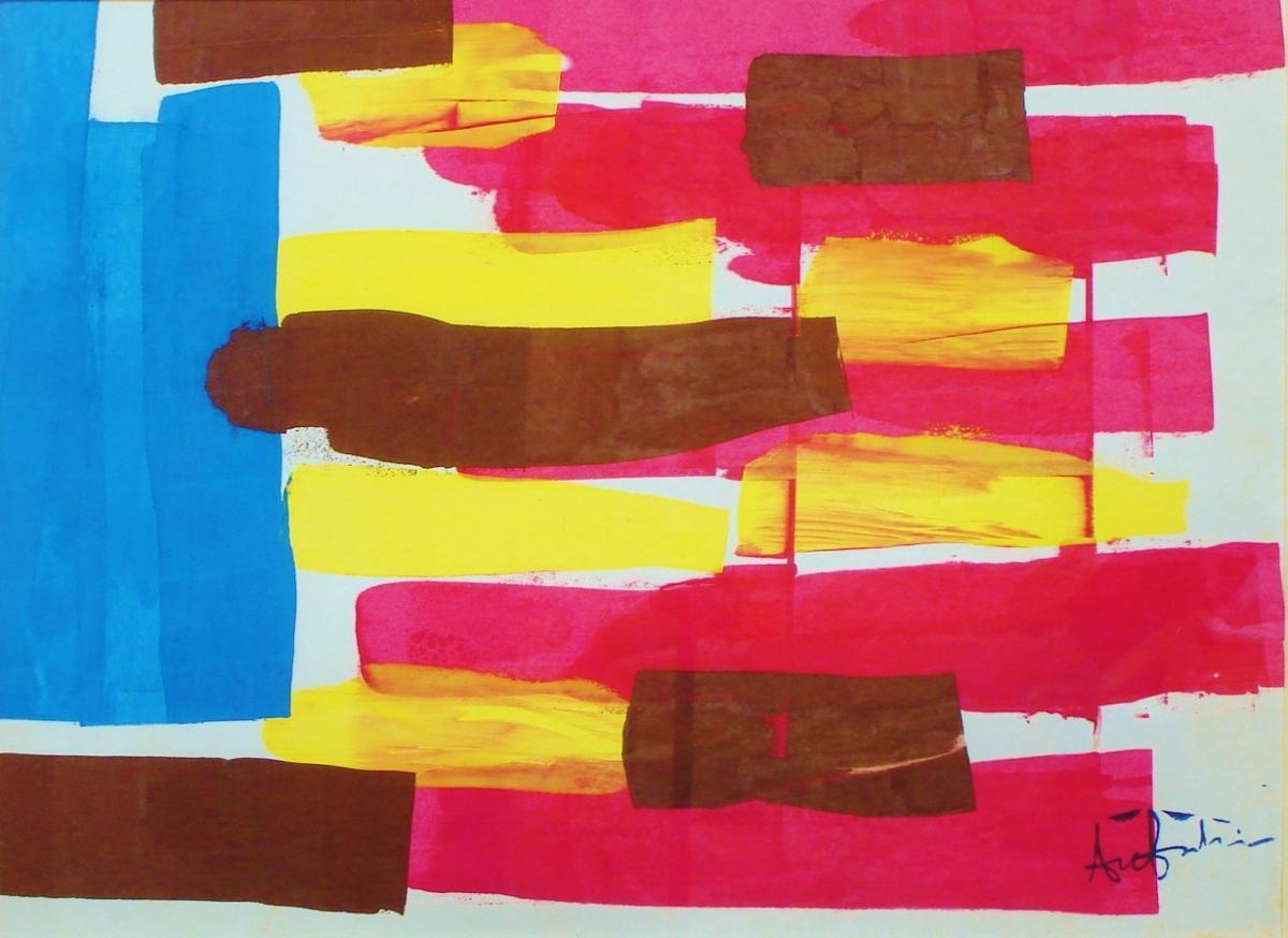 Ange Falchi (1913-1989), Gouache Sur Papier, Composition Abstraite-photo-2