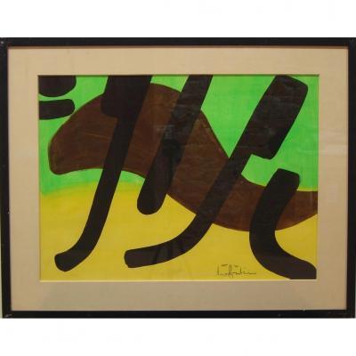 Ange Falchi (1913-1989), Gouache Sur Papier, Composition Abstraite