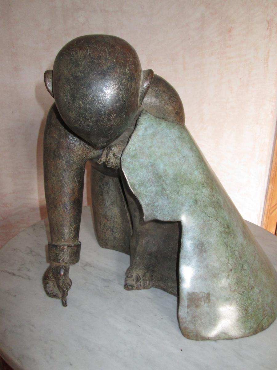 Sculpture Le dessinateur de Jean-robert Ipousteguy En Bronze-photo-3