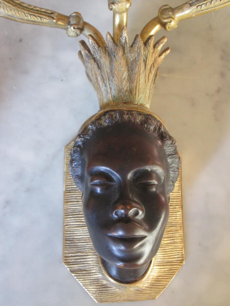 Paire d'Appliques Aux Nubienne