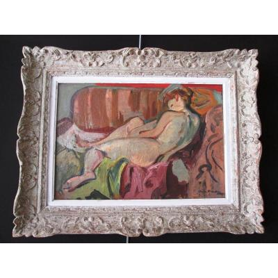 Tableau d'André Planson (1898-1981) Nu Au Sofa