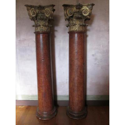 Pair Of Half-columns Forming Trunks Of Church