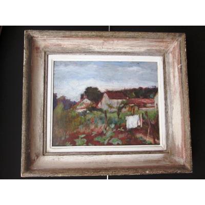 Tableau De Lucien Mignon(1865-1944)Jardin à Vétheuil