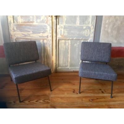Pair Of Low Chairs By Pierre Guariche