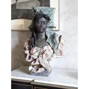 Buste De Nubienne De Fridrich Goldsheider (1845-1897)