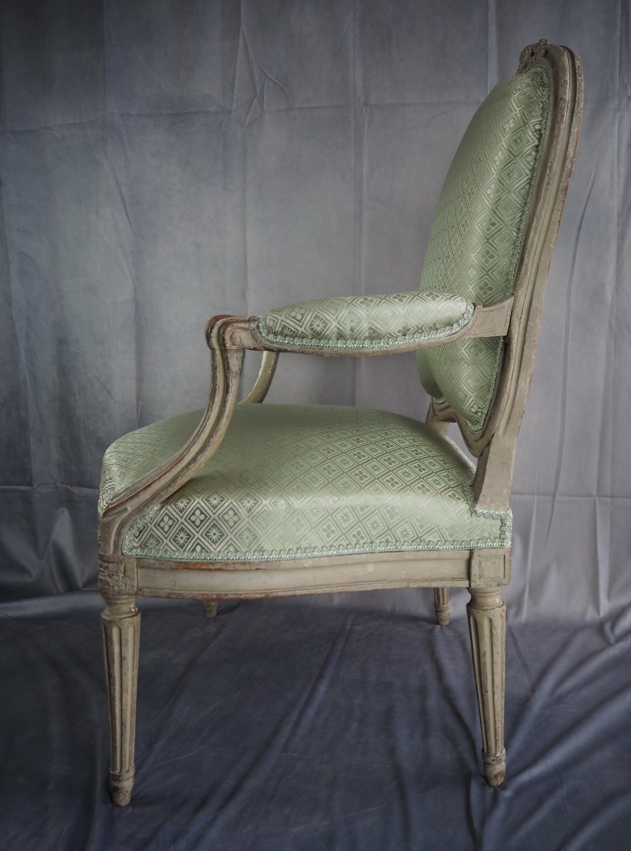 Transition Armchair, Stamped N.s. Courtois, Circa 1770-photo-3