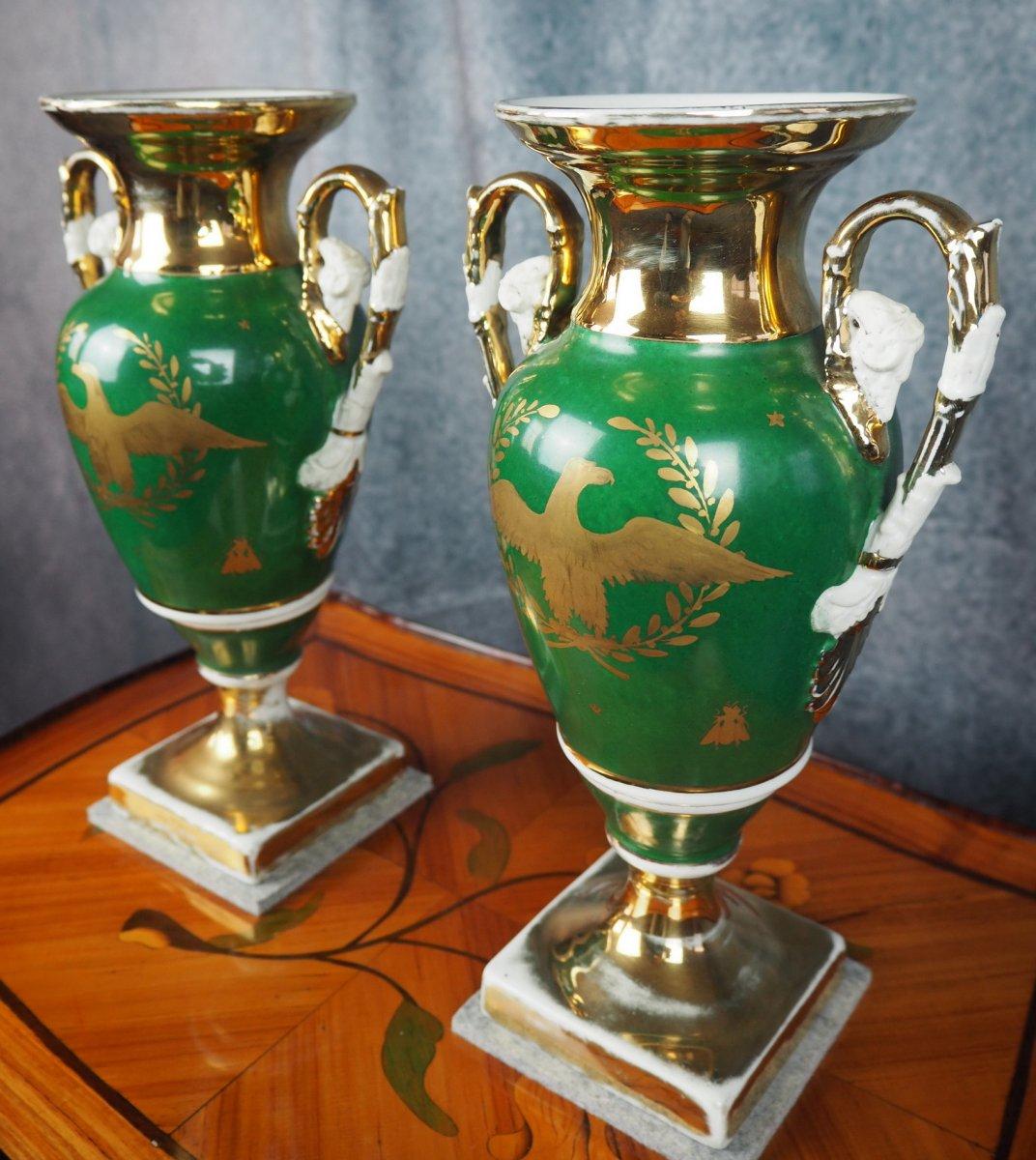 Pair Porcelain Vases, Empire-style, 19th Century-photo-2