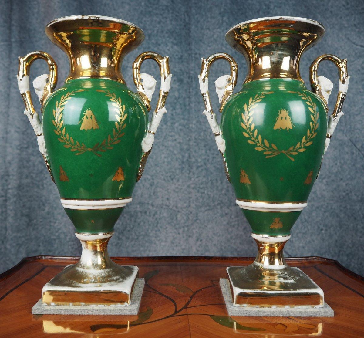 Pair Porcelain Vases, Empire-style, 19th Century-photo-4