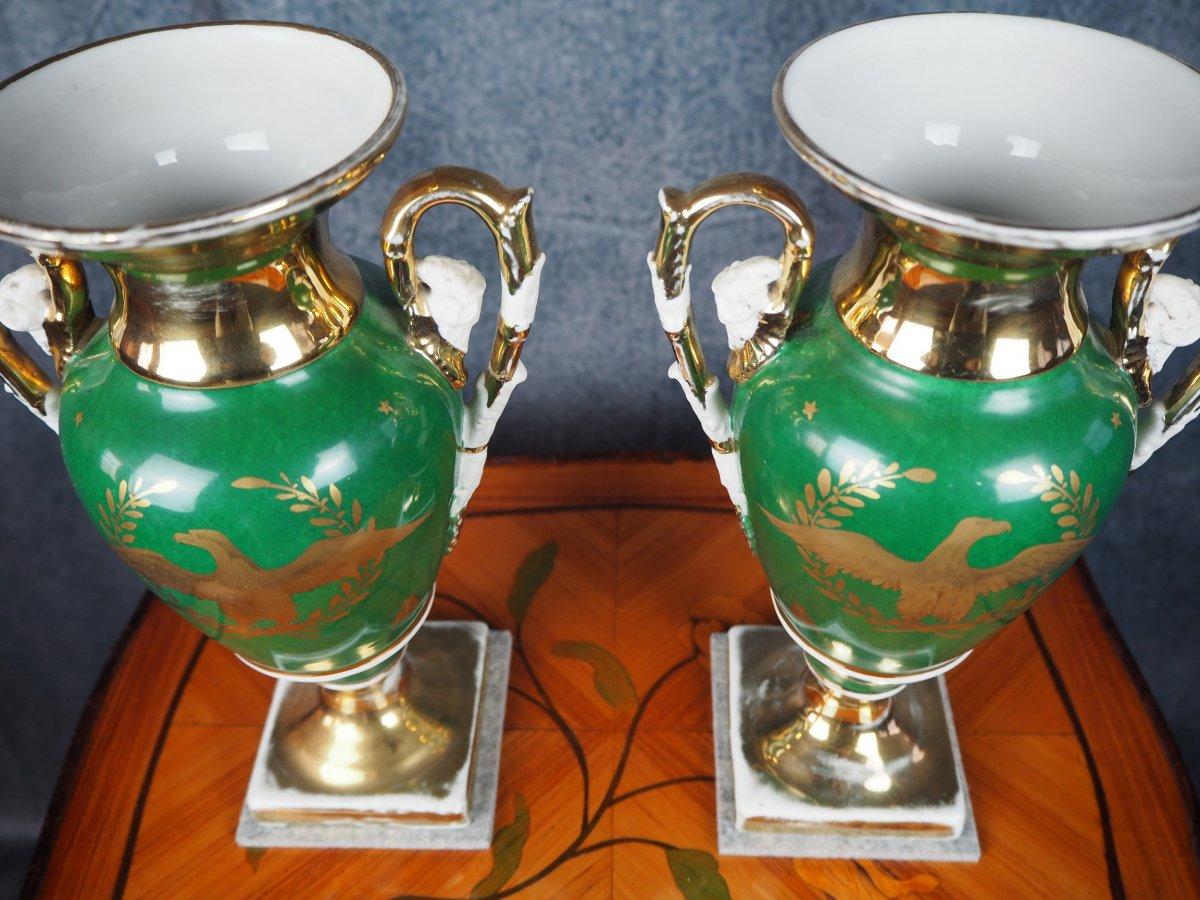 Pair Porcelain Vases, Empire-style, 19th Century-photo-3