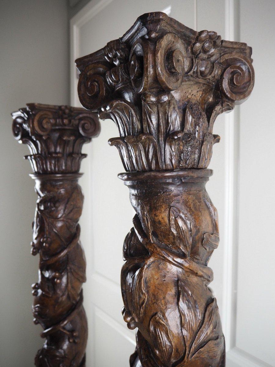 Paire De Colonnes Salomoniques Baroques