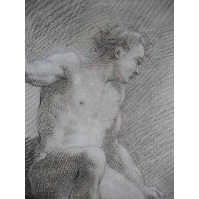 Academy, Male Nude, Black, Brown & White Chalk, 18th Century