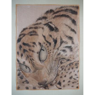 Aquarelle Japonaise «tigre», XIXe Siècle