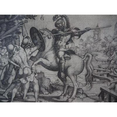 Gravure - Georg Pencz - Horatius Cocles Défendant Le Pont