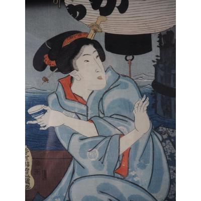 Estampe Japonaise - Kunisada - Buste Bijin - Saké à Boire