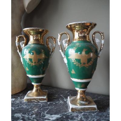 Paire De Vases En Porcelaine De Paris De Style Empire, XIXe Siècle