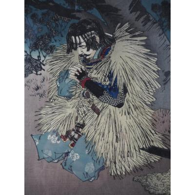 Estampe Japonaise - Yoshitoshi – 'Rainy Moon', 1889