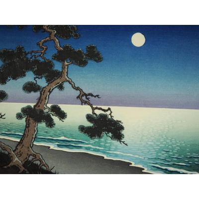 Estampe Japonaise - Koitsu – 'Moonlight at Suma Beach'