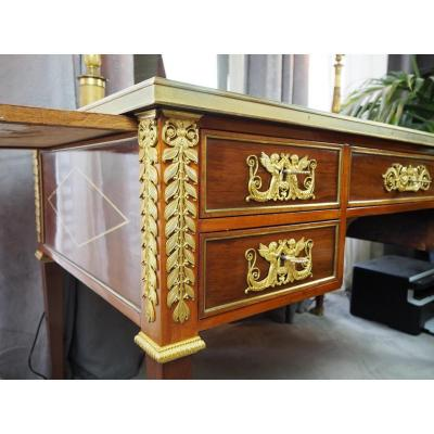 Empire Style Desk In Mahogany, Bronze And Leather, Circa 1890