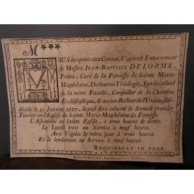 Memoras XVIIIe Lettrine Macabre Faire Part Mortuaire Vanité mémento mori