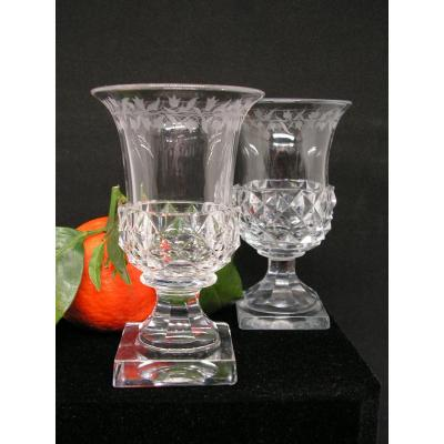 Pair Of Small Medici Crystal Vases Probably Baccarat Early Nineteenth