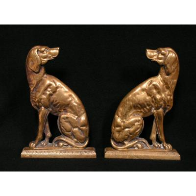 Pair Of Dogs In Gilt Bronze Mid XXth