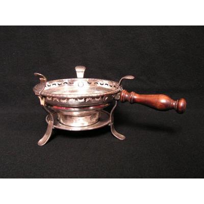 Réchaud De Table En cuivre Doublé argent XVIIIème
