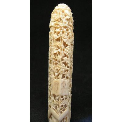 Manche d'Ombrelle XIXème En Ivoire Finement Sculpté - Chine Asie