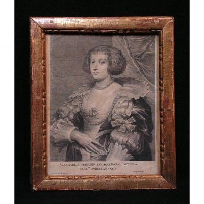 Gravure Marguerite De Lorraine d'Après Van Dyck Gravée Par S. A. Bolswert Cadre Bois Doré