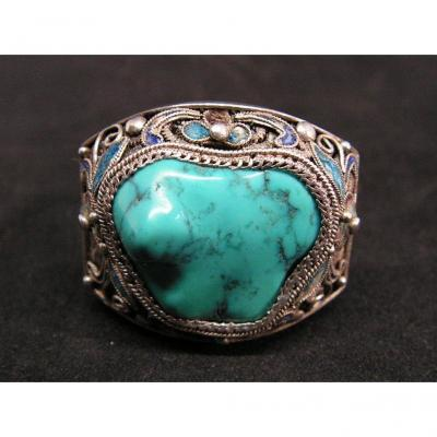 Ancient Imposing Chinese Ring In Filigree Silver And Turquoise