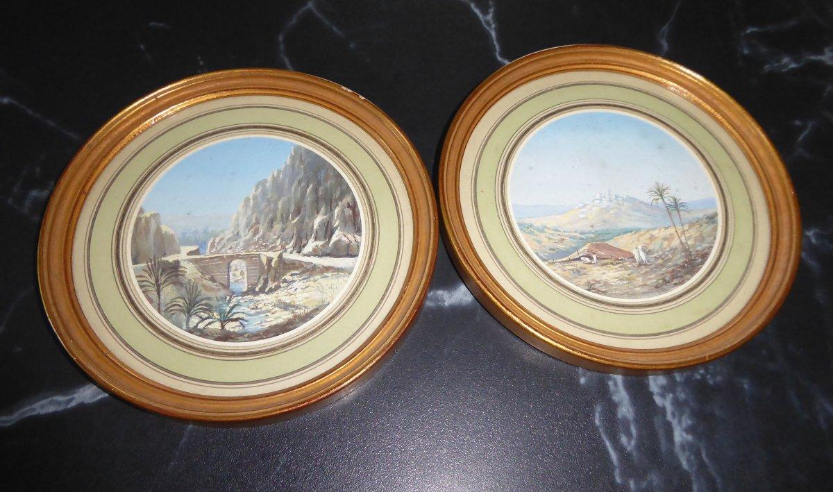 Paire De Gouaches Orientalistes Fin XIXème