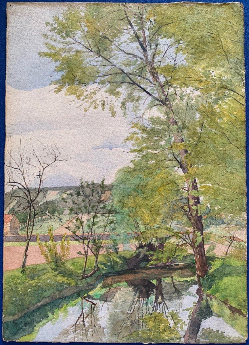 Aquarelle Paysage De Lozère d'Albert Julien 1916-photo-2