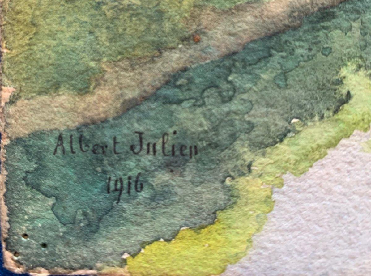 Aquarelle Paysage De Lozère d'Albert Julien 1916-photo-3