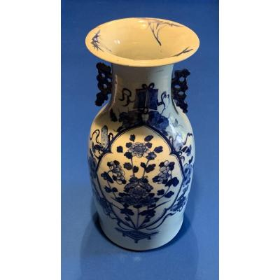 Vase Canton Blanc Bleu Chine  XIXeme