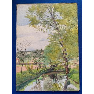 Aquarelle Paysage De Lozère d'Albert Julien 1916