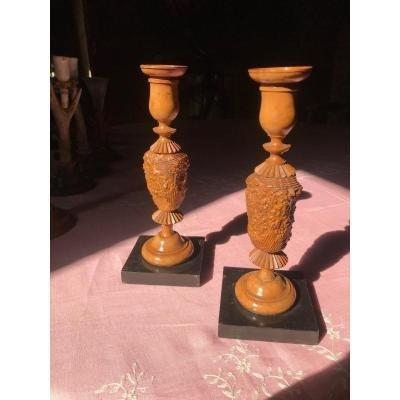 Pair Of Candlesticks In Turned Wood
