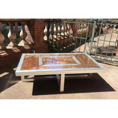 Table Basse  Maison Jansen Des Années 70