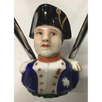 Tête De Pipe Napoléon En Porcelaine XIXème