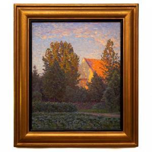 Soleil du soir par l'artiste suédois Carl Johansson (1863 - 1944)