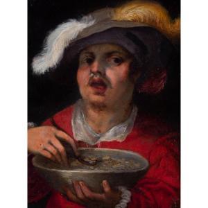 Portrait d'homme au chapeau de plumes, école flamande du XVIIe siècle